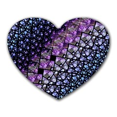 Dusk Blue And Purple Fractal Mouse Pad (heart) by KirstenStar