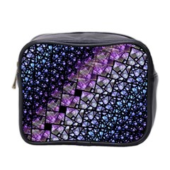 Dusk Blue And Purple Fractal Mini Travel Toiletry Bag (two Sides) by KirstenStar