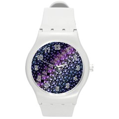 Dusk Blue And Purple Fractal Plastic Sport Watch (medium) by KirstenStar