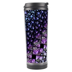 Dusk Blue And Purple Fractal Travel Tumbler by KirstenStar
