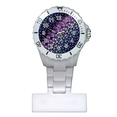 Dusk Blue And Purple Fractal Nurses Watch