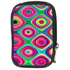 Psychedelic Checker Board Compact Camera Leather Case by KirstenStar