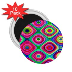Psychedelic Checker Board 2 25  Button Magnet (10 Pack) by KirstenStar