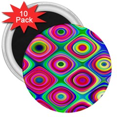 Psychedelic Checker Board 3  Button Magnet (10 Pack) by KirstenStar