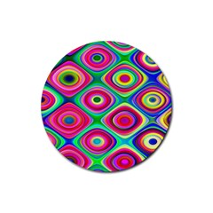 Psychedelic Checker Board Drink Coaster (round) by KirstenStar