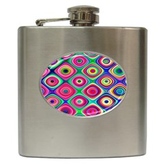 Psychedelic Checker Board Hip Flask