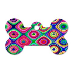 Psychedelic Checker Board Dog Tag Bone (one Sided) by KirstenStar