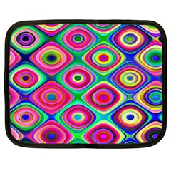 Psychedelic Checker Board Netbook Sleeve (xxl) by KirstenStar