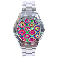 Psychedelic Checker Board Stainless Steel Watch by KirstenStar