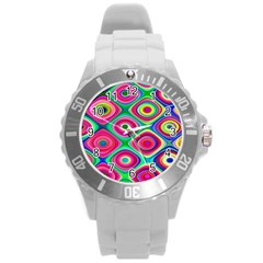 Psychedelic Checker Board Plastic Sport Watch (large) by KirstenStar