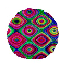 Psychedelic Checker Board Standard 15  Premium Round Cushion  by KirstenStar