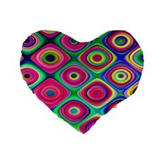 Psychedelic Checker Board Standard 16  Premium Heart Shape Cushion  by KirstenStar