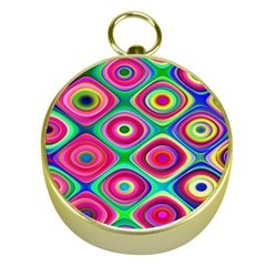 Psychedelic Checker Board Gold Compass by KirstenStar