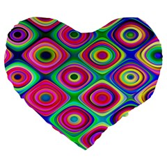 Psychedelic Checker Board Large 19  Premium Flano Heart Shape Cushion by KirstenStar