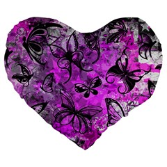 Butterfly Graffiti Large 19  Premium Flano Heart Shape Cushion by ArtistRoseanneJones