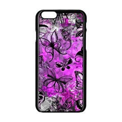 Butterfly Graffiti Apple Iphone 6 Black Enamel Case by ArtistRoseanneJones