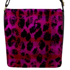 Pink Leopard Flap Closure Messenger Bag (small) by ArtistRoseanneJones