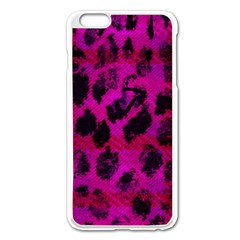 Pink Leopard Apple iPhone 6 Plus Enamel White Case by ArtistRoseanneJones