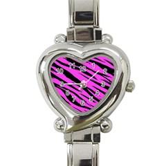Pink Tiger Heart Italian Charm Watch  by ArtistRoseanneJones