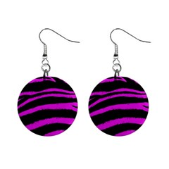 Pink Zebra Mini Button Earrings by ArtistRoseanneJones