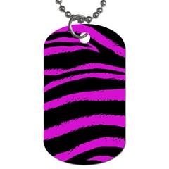 Pink Zebra Dog Tag (two Sided)  by ArtistRoseanneJones