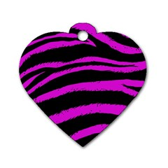 Pink Zebra Dog Tag Heart (two Sided) by ArtistRoseanneJones