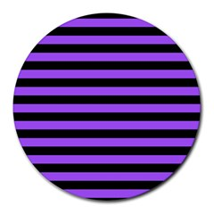 Purple Stripes 8  Mouse Pad (Round) by ArtistRoseanneJones