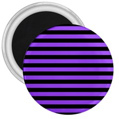 Purple Stripes 3  Button Magnet by ArtistRoseanneJones