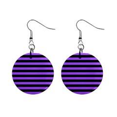 Purple Stripes Mini Button Earrings by ArtistRoseanneJones