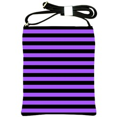 Purple Stripes Shoulder Sling Bag by ArtistRoseanneJones