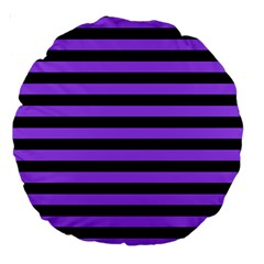 Purple Stripes Large 18  Premium Round Cushion  by ArtistRoseanneJones