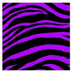 Purple Zebra Large Satin Scarf (square) by ArtistRoseanneJones