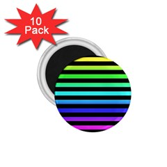 Rainbow Stripes 1 75  Button Magnet (10 Pack) by ArtistRoseanneJones