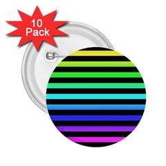 Rainbow Stripes 2 25  Button (10 Pack) by ArtistRoseanneJones