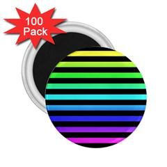Rainbow Stripes 2 25  Button Magnet (100 Pack) by ArtistRoseanneJones