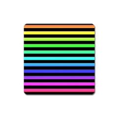 Rainbow Stripes Magnet (square) by ArtistRoseanneJones