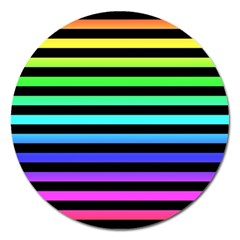 Rainbow Stripes Magnet 5  (round) by ArtistRoseanneJones