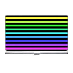 Rainbow Stripes Business Card Holder by ArtistRoseanneJones