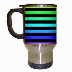 Rainbow Stripes Travel Mug (white) by ArtistRoseanneJones