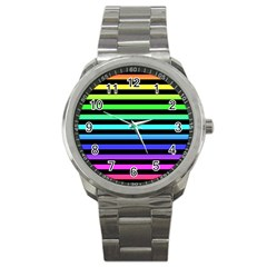 Rainbow Stripes Sport Metal Watch by ArtistRoseanneJones