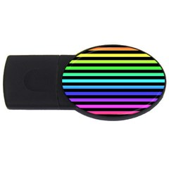 Rainbow Stripes 4gb Usb Flash Drive (oval) by ArtistRoseanneJones