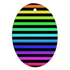 Rainbow Stripes Oval Ornament (two Sides) by ArtistRoseanneJones