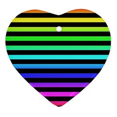 Rainbow Stripes Heart Ornament (two Sides) by ArtistRoseanneJones