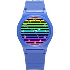 Rainbow Stripes Plastic Sport Watch (small) by ArtistRoseanneJones