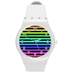 Rainbow Stripes Plastic Sport Watch (medium) by ArtistRoseanneJones