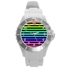 Rainbow Stripes Plastic Sport Watch (large) by ArtistRoseanneJones