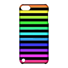 Rainbow Stripes Apple Ipod Touch 5 Hardshell Case With Stand by ArtistRoseanneJones
