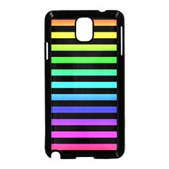 Rainbow Stripes Samsung Galaxy Note 3 Neo Hardshell Case (black) by ArtistRoseanneJones