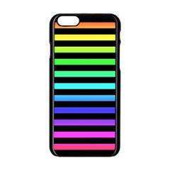 Rainbow Stripes Apple Iphone 6 Black Enamel Case by ArtistRoseanneJones