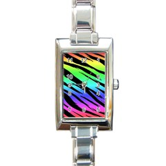 Rainbow Tiger Rectangular Italian Charm Watch by ArtistRoseanneJones